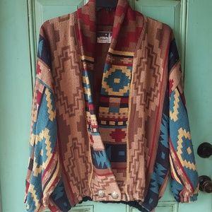Southwestern style cozy sweater jacket